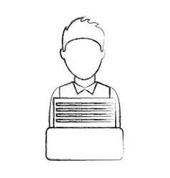 businessman writing in typewrite machine vector image