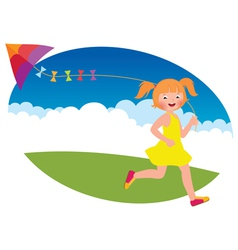 Child girl with a kite runs vector image vector image