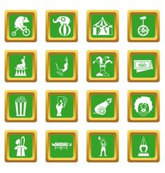 Circus entertainment icons set green vector