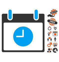clock calendar day icon with lovely bonus vector image vector image