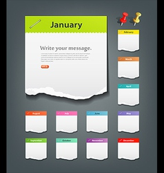 Colorful ripped paper note of the month vector image vector image