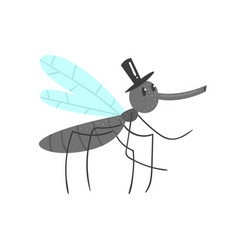 cute cartoon mosquito character in a black hat vector image vector image