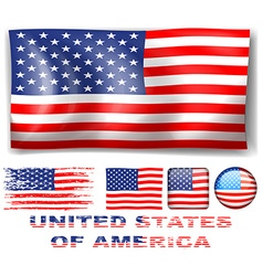 Different designs of United Stated of America flag vector image vector image