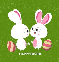Easter card background with colored eggs and bunny vector