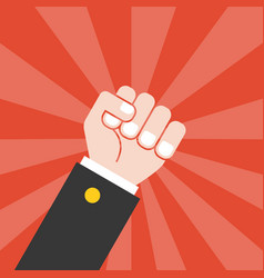 Fist and sun ray background vector