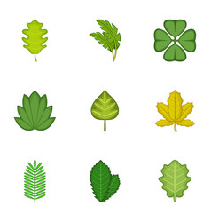 Forest leaves icons set cartoon style vector