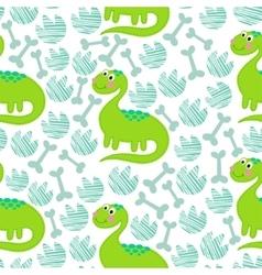 Green dinosaur seamless pattern vector image