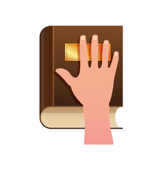 Hand on constitution as oath concept icon vector