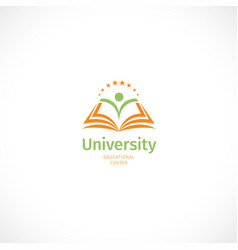 isolated abstract green and orange color open book vector image