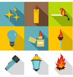 light source icon set flat style vector image