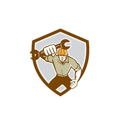 Mechanic Spanner Wrench Running Shield Retro vector image vector image