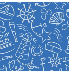Nautical sketch doodle icons seamless light blue vector