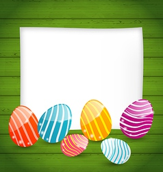Paper card with Easter colorful eggs vector image vector image