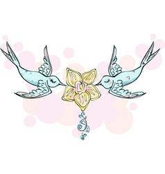 PinkBlueBirdsLovers vector image