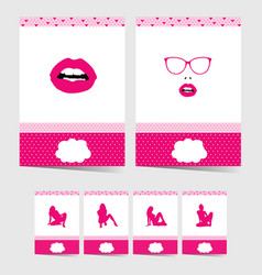 poster with girl in pink color set vector image