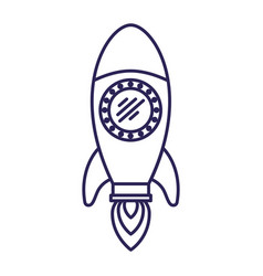 Purple line contour of space rocket vector