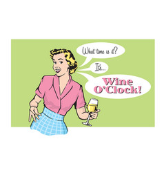 retro pretty woman with wine vector image vector image