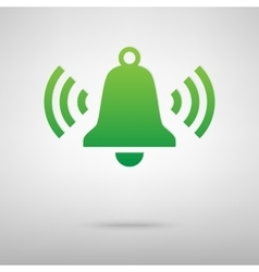 Ringing bell green icon with shadow vector