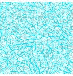 Seamless floral vintage blue doodle pattern vector