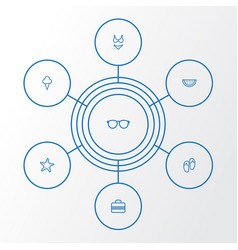 Season outline icons set collection of glasses vector