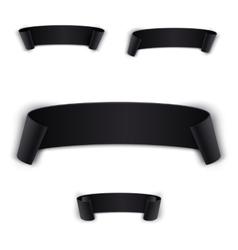 Set black realistic curved ribbon vector