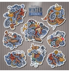 Set of winter season doodle cartoon stickers vector