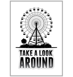 Silhouette of a ferris wheel at the park vector