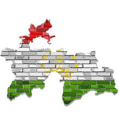 Tajikistan map on a brick wall vector