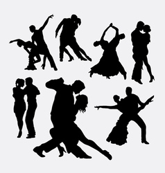 Tango couple dancer silhouettes vector image vector image