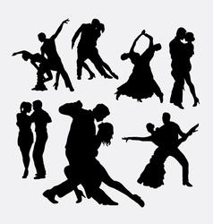 Tango couple dancer silhouettes vector image vector image