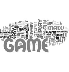 what makes a great game text word cloud concept vector image vector image