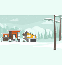 winter landscape with houses and trees in snow vector image