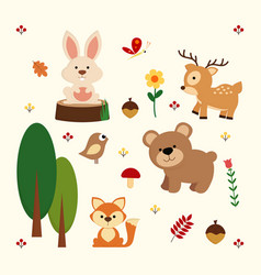 woodland animal background vector image vector image