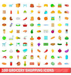 100 grocery shopping icons set cartoon style vector
