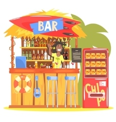 Beach bar in tropical style design with smiling vector