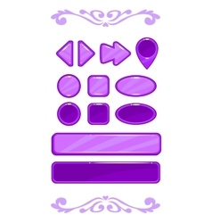 Cute violet game user interface vector