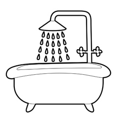Bath with shower icon outline style vector