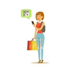 Woman registering qr code shopping in department vector