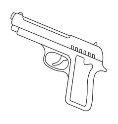 Handgun icon in outline style isolated on white vector