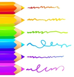 Colored pencils bright colorful set background vector