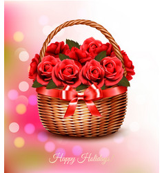 Holiday background with red flowers and basket vector