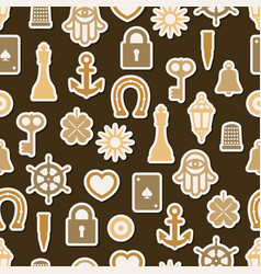 Charm good luck symbols seamless pattern vector