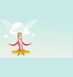 peaceful business woman doing yoga vector image