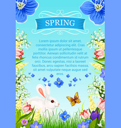 Spring time poster with flowers bunch vector