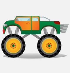 Monster truck with big wheels car vehicle in vector