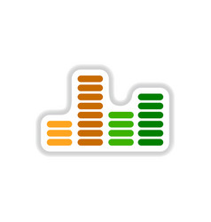 Color label design collection of sound and audio vector