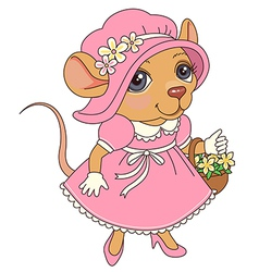 Cartoon mouse pink vector
