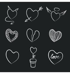 Hand drawn chalk hearts collection vector
