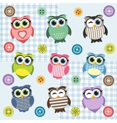 Background with nine textured owls vector
