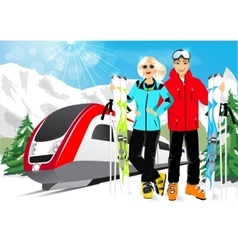 Happy couple skiers in mountain resort vector